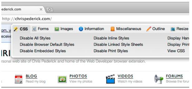 hojas de estilo CSS plugin Chrome Chrispederick