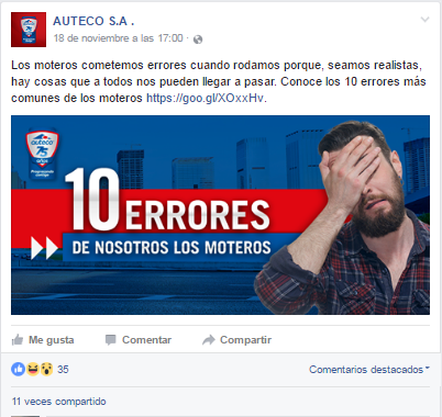 publicación en facebook auteco 10 errores