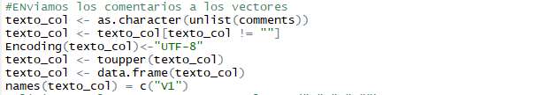 Ingreso de comentarios a vectores