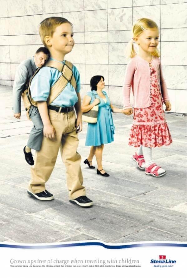 Niños figura retórica anástrofe publicidad StenaLine