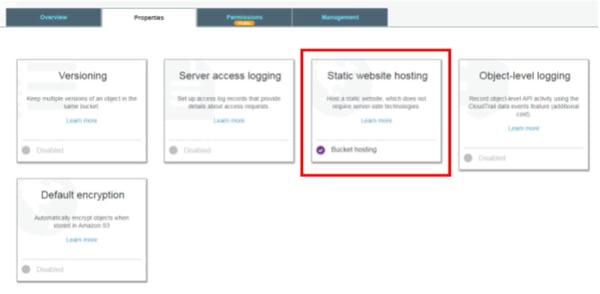 Configurar el bucket para hospedar la página web