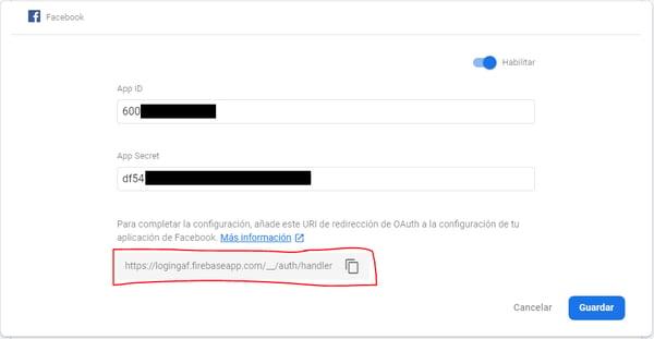 Identificador de la app en App ID y la clave secreta en App Secret