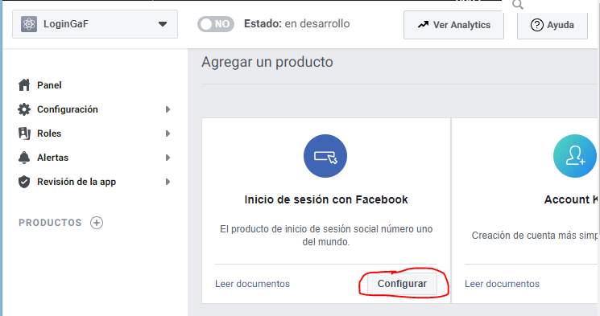 Configurara aplicación en Facebook