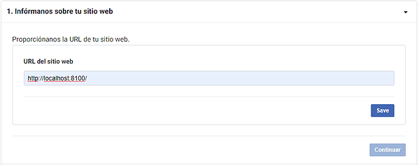 URL de la página que consumirá el servicio de sesión con Facebook