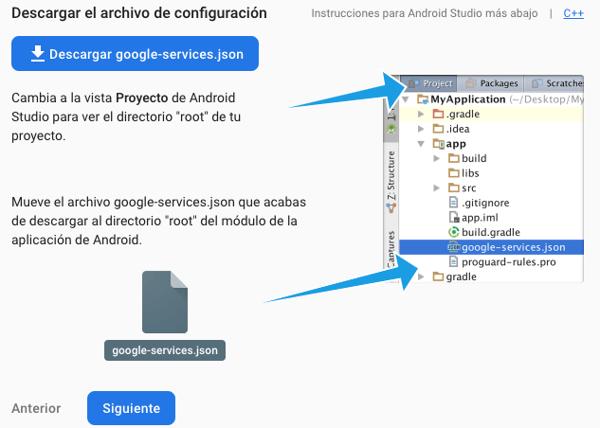 Para el paso dos solo se necesita descargar el archivo (google-services.json)