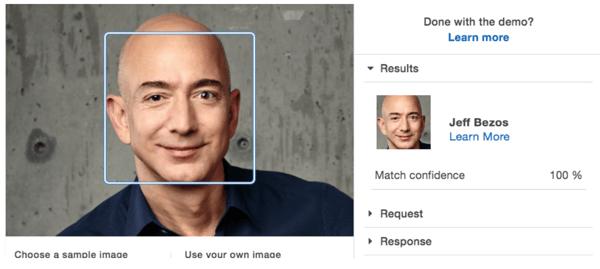 AWS ofrece servicios especializados para reconocimiento facial.