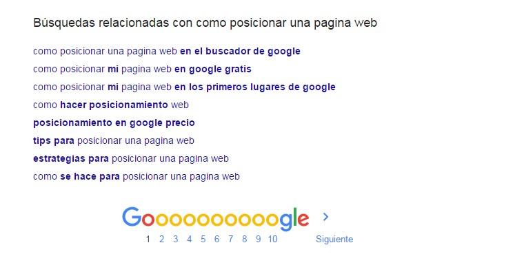 palabras clave en las búsquedas relacionadas de google