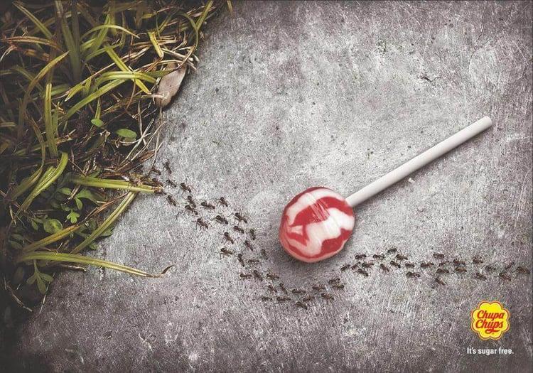 Publicidad hormigas Chupa Chups sin azúcar