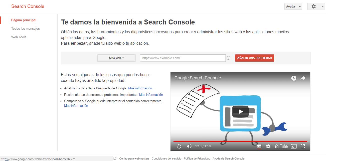Página principal de Google Search Console