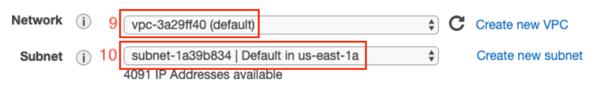 Seleccionaremos, además, la subnet asociada a la AZ us-east-1a.