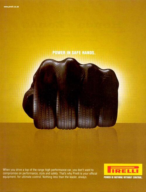Mano en forma de llantas metáfora publicidad Pirelli