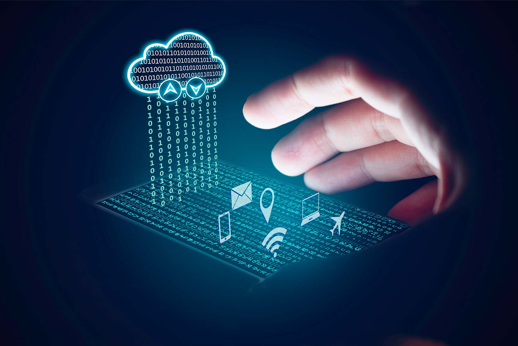Nube hecha de código binario esparce números sobre un smartphone con aplicaciones