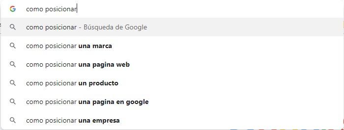 palabras clave sugeridas en la búsqueda de Google