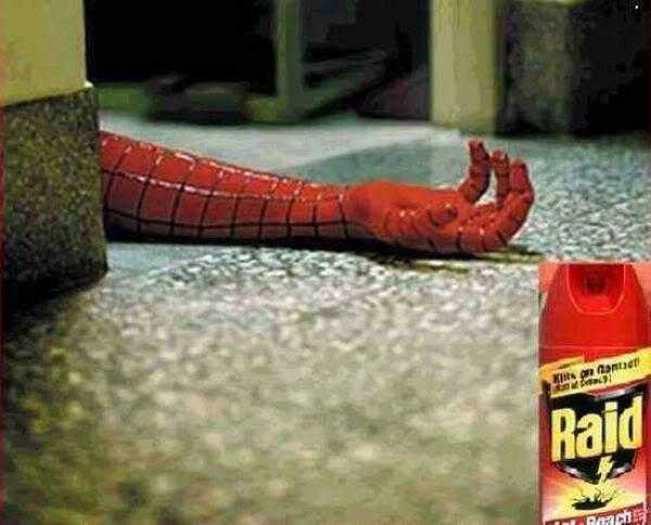 Spiderman publicidad Raid  figura retórica metonimia