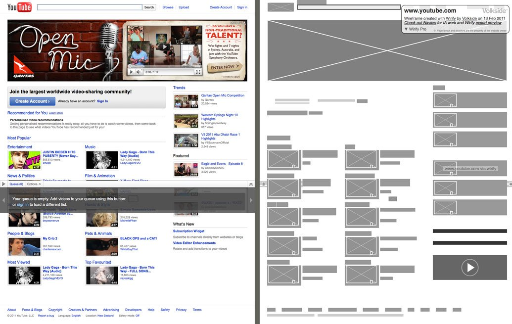 wireframe de youtube